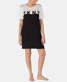 DKNY Short-Sleeve Logo Colorblock Knit Sleepshirt
