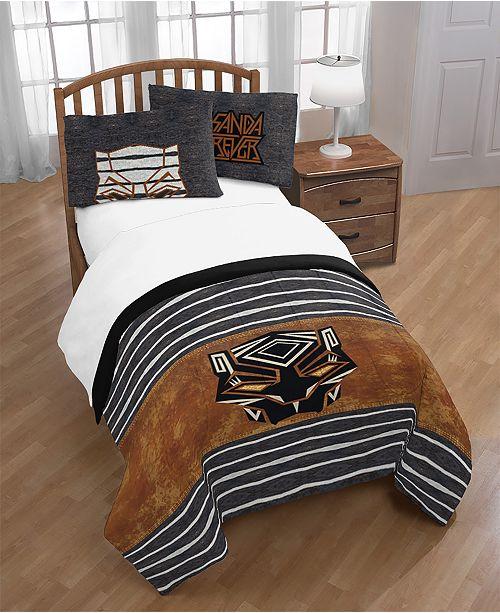 Black Panther Movie Marvel Black Panther Wakanda Forever Full/Queen Comforter Pillowcase Set