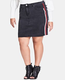 City Chic Trendy Plus Size Racing-Stripe Denim Skirt