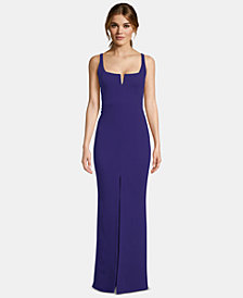 Betsy & Adam Petite Slit-Front Gown