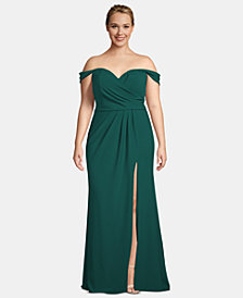 XSCAPE Plus Size Crepe Off-The-Shoulder Gown
