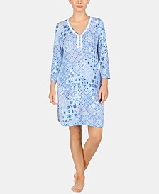 Ellen Tracy Printed Embroidered Trim Tunic Nightgown