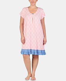 Ellen Tracy Plus Size Printed Ruffled Hem Knit Chemise Nightgown
