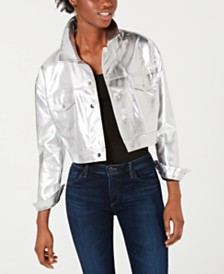TENZ CVLT Cropped Metallic Trucker Jacket
