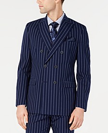 Men's Slim-Fit Seersucker Blue Pinstripe Double Breasted Suit Jacket, Created for Macy's
