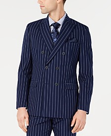 Bar III Men's Slim-Fit Seersucker Blue Pinstripe Double Breasted Suit Jacket, Created for Macy's