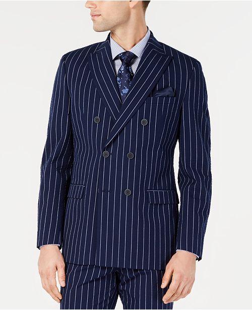Bar III Men's Slim-Fit Seersucker Blue Pinstripe Double Breasted Suit Jacket, Created for Macy's
