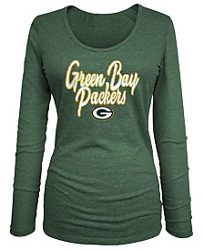 5th & Ocean Women's Green Bay Packers Long Sleeve Triblend Foil T-Shirt