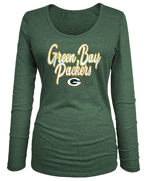 5th & Ocean Women's Green Bay Packers Long Sleeve Triblend Foil T-Shirt