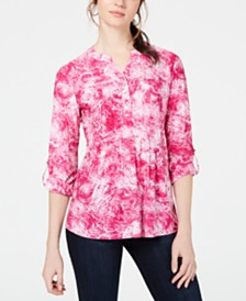 NY Collection Petite Printed Roll-Tab Shirt
