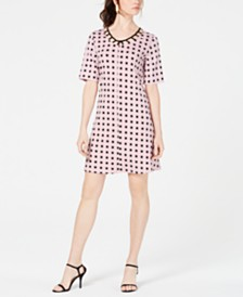 NY Collection Petite Cage Geo-Print Dress