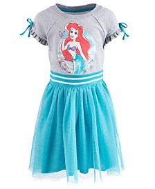 Disney Little Girls Ariel Glitter-Mesh Dress