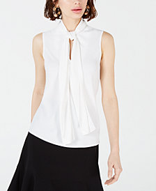Bar III Crepe Bow-Neck Blouse, Created for Macy's