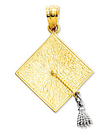 14k Gold and 14k White Gold Charm, Graduation Cap Charm