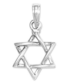 14k White Gold Charm, 3D Star of David Charm