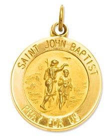 14k Gold Charm, Saint John Baptist Medal Charm