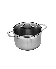 "Swiss Diamond Premium Steel Stock Pot with Lid - 9.5"" , 7.6 QT."