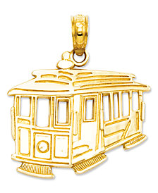 14k Gold Charm, Cable Car Charm