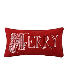 Home Noelle Merry Embroidered Red Pillow