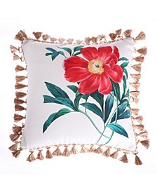 Home Simone Floral Rose Tassel Pillow