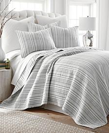 Home Bondi Stripe Gray Twin Quilt Set