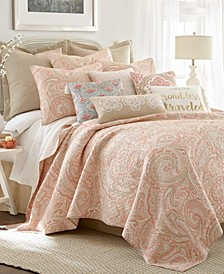 Spruce Coral Paisley Reversible Quilt Set and Euro Sham Collection