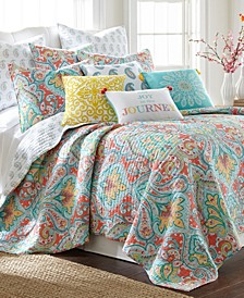Tribeca Damask Reversible King Quilt Set