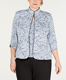 Alex Evenings Plus Size Printed Mandarin Jacket & Top Set