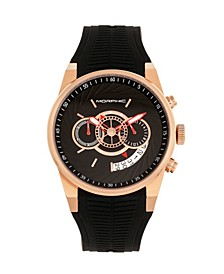 Quartz M72 Series, MPH7204, Black/Rose Gold Chronograph Silicone Watch 43MM