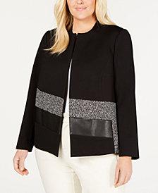 Calvin Klein Plus Size Faux-Leather & Tweed Jacket