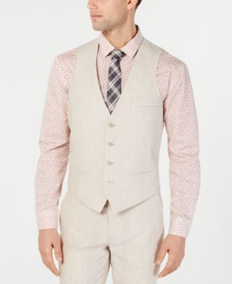 Men's Slim-Fit Linen Tan Suit Vest, Created for Macy's