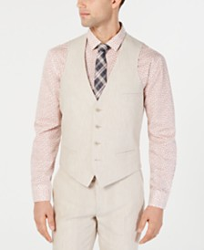 Bar III Men's Slim-Fit Linen Tan Suit Vest, Created for Macy's