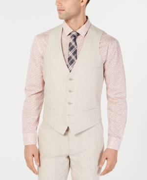 1920s Style Mens Vests Bar Iii Mens Slim-Fit Linen Tan Suit Vest Created for Macys $49.99 AT vintagedancer.com