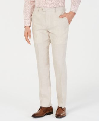Men's Slim-Fit Linen Tan Suit Pants, Created for Macy's