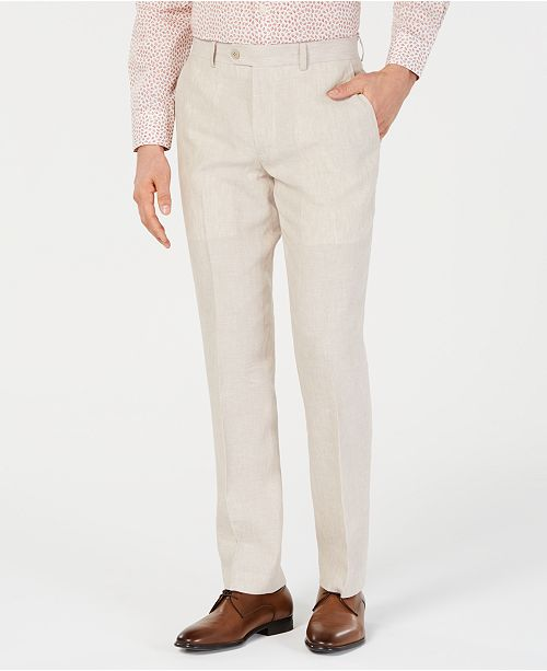 Bar III Men's Slim-Fit Linen Tan Suit Pants, Created for Macy's