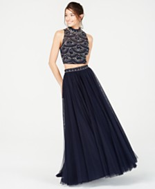 City Studios Juniors' Beaded Top & Skirt