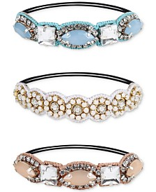 Deepa Two-Tone 3-Pc. Set Crystal, Imitation Pearl & Braided Cotton Ponytail Ties