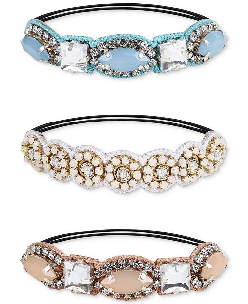 Deepa Two-Tone 3-Pc. Set Crystal, Imitation Pearl & Braided Cotton Ponytail Ties