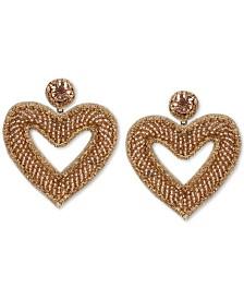 Deepa Crystal & Beaded Heart Drop Earrings