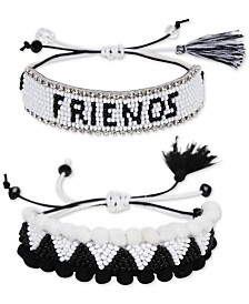 Deepa Silver-Tone 2-Pc. Set Crystal & Bead Friendship Slider Bracelets