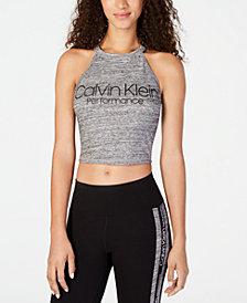 Calvin Klein Performance Logo Cropped Halter Top