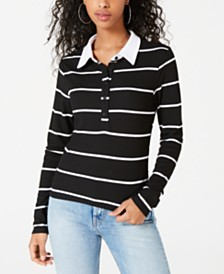 Self Esteem Juniors' Striped Ribbed Polo Top