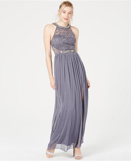 BCX Juniors' Sequined Lace Illusion Gown