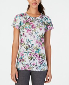 Ideology Floral-Print Keyhole-Back Top, Created for Macy's