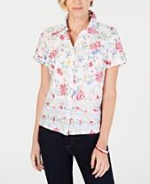 2ec206217b8 Karen Scott Petite Floral-Print Short-Sleeve Shirt