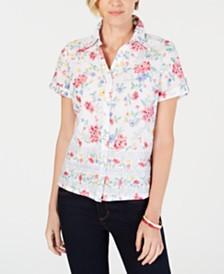 74aba4eb4fc47 Karen Scott Petite Floral-Print Short-Sleeve Shirt