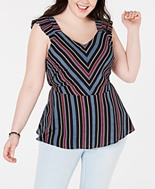 Trendy Plus Size Striped Peplum Top