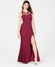 City Studios Juniors' Halter Sparkle Gown