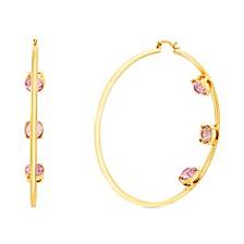 Women's Multi Color Rhinestone Triple Studded Hoop Yellow Gold-Tone Earrings