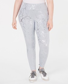 Ideology Plus Size Metallic-Print Leggings, Created for Macy's
